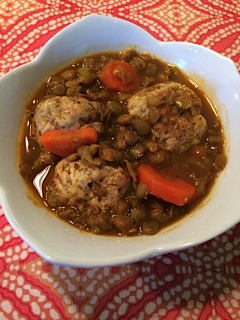 French Lentil Stew with Turkey Meatballs