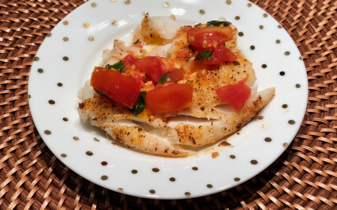 Roasted Cod with Tomato Basil Sauce